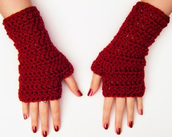 Red Fingerless Typing Half Gloves Crochet Autumn Accessories Chunky Mittens