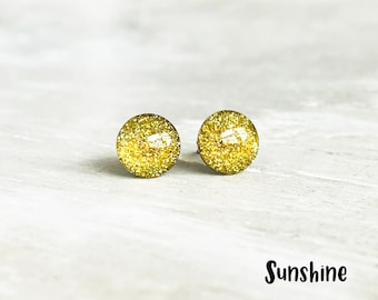 Bright yellow glitter stud earrings, Yellow earrings, Glitter post earrings, Small yellow earrings, Ear Sugar earrings, Sunny yellow Studs
