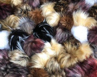 "Mystery Faux Fur Pom Pom Bags 3-4"" Sizes in a Random Mix of Colors"