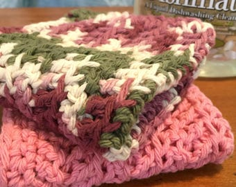 "Handmade Crochet Dishcloths, 2, Washcloths, Cotton, Pink, Burgundy, Green, Reusable, Eco-friendly, Gift, ""Coming Up Roses"", Spring"
