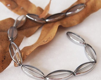 10 Glass Long Oval Flat Beads Large Clear with Silver Edge Size 30 x 12mm