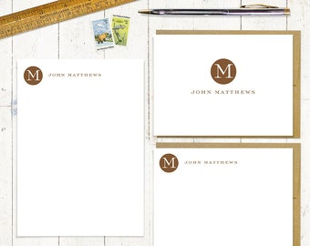complete personalized stationery set - CIRCLE MONOGRAM - personalized monogrammed stationary - note cards - notepad - choose color