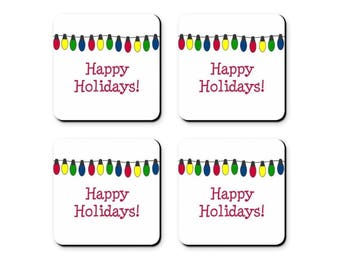 Holiday Coasters - Set of 4 - Happy Holidays