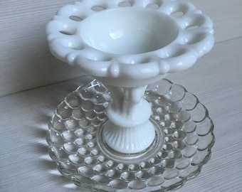 Upcycled milk glass and crystal tiered jewelry tray