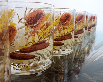 Georges Briard Barware Glasses Vintage Cattails Fall Colors Set of 8 Old Fashioneds 12oz