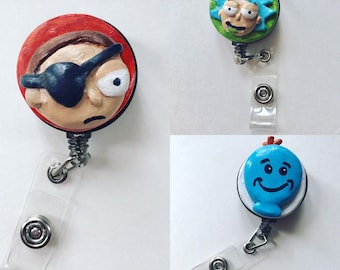 Rick and Morty badge holders