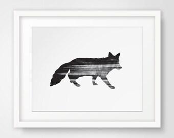 Fox Print, Fox Wall Art, Black and White Print, Black Fox Wall Prints, Fox Silhouette, Black Fox, Printable Art, Downloadable Print