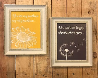 You are my sunshine my only sunshine - 2 framed song prints