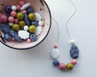 nils - necklace - vintage remixed lucite - floral necklace - pastel jewellery - chartreuse, rose, grey