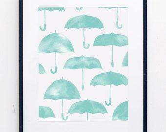 Umbrella Watercolor Print - SMc. Originals, watercolor painting, modern, whimsy, nursery decor, nursery art, nursery print, decor