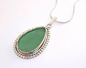 925 Silver aqua  Roman Glass Tear Drop Pendant Necklace