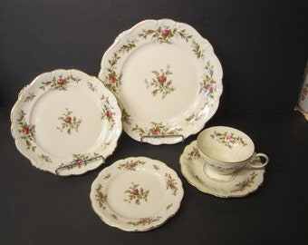 "Rosenthal Pompadour ""Antoinette"" 5 Piece Place Setting, Includes Dinner Plate, Salad Plate, Bread & Butter Plate, Cup and Saucer - Moss Rose"