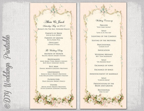 christian wedding order of service template - printable wedding program template