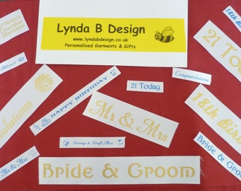 Bespoke Personalised Ribbons. 18th, 21st  Birthdays, Weddings, Bride & Groom, Christmas Themes, Logos, Company Name