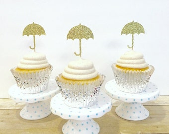 Umbrella Cupcake Toppers / Sprinkled with Love / Baby Sprinkle / Set of 12