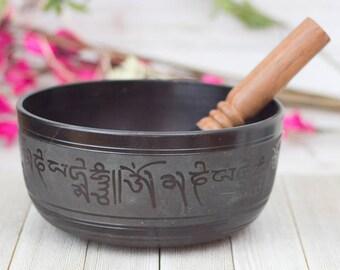 Yoga Om Singing Bowl Large   Black - 7.5 inch