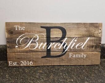 Custom Name Sign, Established Date Sign, Wedding Gift Sign, Pallet Last Name Sign, Rustic Sign, Established Date Family Sign,Weathered sign