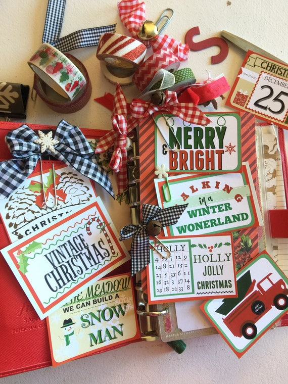 Vintage Style Christmas Planner Journal Clipart Christmas Printable Cards - Red and Mint Green Download