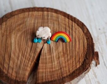 Rainbow Jewelry Gift, Rainbow Earrings, Rainbow Earring Jewelry, Rainbow Studs, Cloud Earrings, Spring Post Earrings, Rainbow Posts