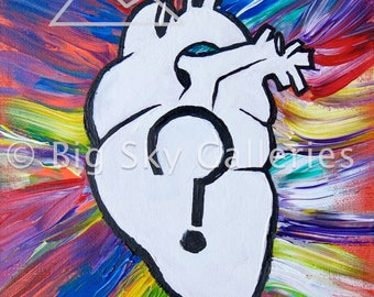 Abstract Heart Poster // Poster of Original Acrylic Painting // Home Decor