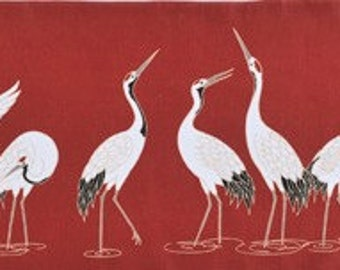 Japanese Wall Art Tenugui 'Cranes in a Row' Cotton Japanese Fabric w/Free Insured Shipping