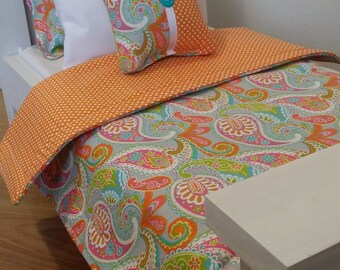 "18"" Doll Bedding Set, Paisley Doll Bedding, Made to Fit 18"" Dolls Such as The American Girl Dolls"