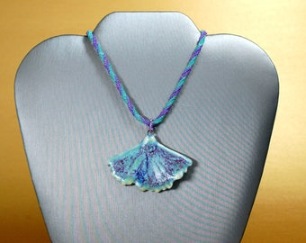 Delicate Beadwoven Necklace with Glazed Ceramic Ginko Leaf Pendant