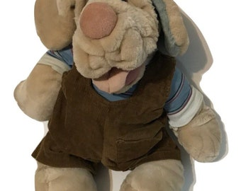Vtg 80s Ganz Wrinkles Dog Plush hand puppet stuffed animal puppy 1981 toy boy overalls