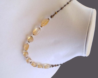 Beauty Gift Yellow Amber Colored Faceted Citrine and Moonstone Gemstones on Gold-Plated Brass Chain Necklace