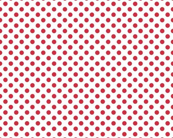 Riley Blake, Small Dots, White with  Red, from Riley Blake, C480-80 Red, Selling in 1/2 Yard Lengths