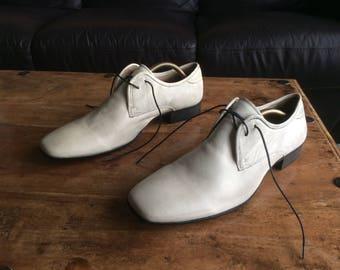 Men's, Vintage, Schuh, Italian, Ivory White, Leather Shoes, Size: UK 10 - New