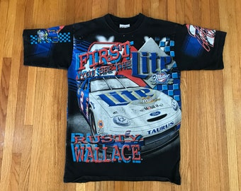 Vintage 90s Rusty Wallace Miller Lite NASCAR All Over Print T Shirt. Size Medium