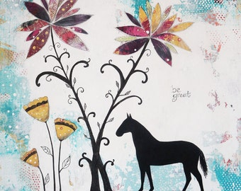 Horse Wall Art- Horse Painting on Canvas, Original Acrylic Painting for Your Farmhouse Decor, Flower Painting Makes a Great Gift For Women