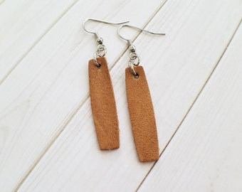 Tan leather earrings, rectangle leather earrings, genuine leather earrings, tan rectangle leather earrings, leather earrings, tan earrings