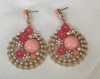 Vintage Pearl, Rhinestone and Lucite Dangling Earrings Pink White and Orange Earrings Beautiful