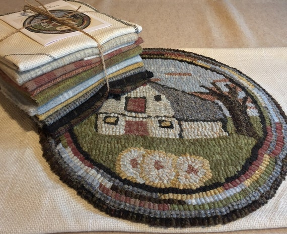 "Primtive Rug Hooking Kit for ""Old Barn #2 "" Chair Pad  14"" Round  K119"