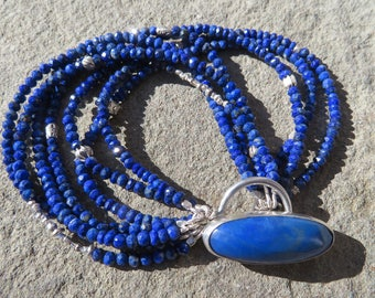 Lapis Bracelet,Multi Strand Lapis Jewelry,Lapis Toggle,Lapis and Sterling Bracelet,Boho Lapis Bracelet,Lapis Wrap Bracelet,Lapis Jewelry