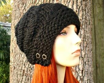 Knit Hat Black Womens Hat - Hybrid Swirl Cloche Hat Black Knit Hat - Black Hat Black Beanie Black Cloche Womens Accessories Winter Hat