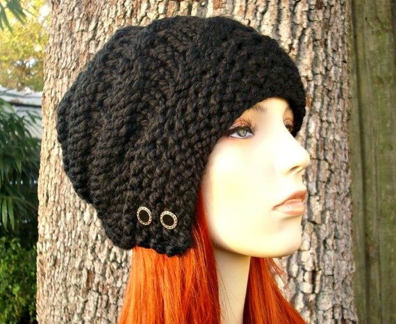 Knit Hat Black Womens Hat - Hybrid Swirl Cloche Hat Black Knit Hat - Black Hat Black Beanie Black Cloche Womens Accessories Winter Hat