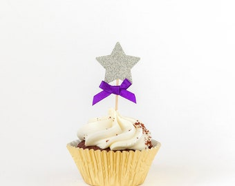 Star cupcake toppers. Gold/silver. First birthday party. 12 Party cake toppers. Silver glitter cupcake toppers. Birthday decorations.