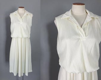 Vintage 1970s cream white pleated midi dress / 70s dress / casual reception wedding dress / small S medium M