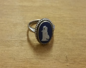 Sterling Silver 925 Wedgewood Ring - Size UK L - US/Canada 5 3/4