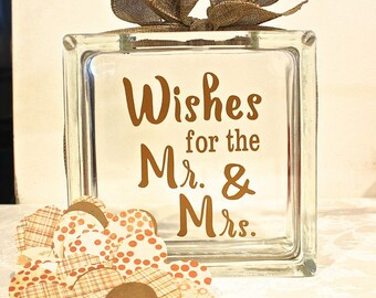 """Rustic Wedding Guest Book Glass Block with """"Wishes for the Mr. & Mrs."""" - May Be Personalized -Wish Jar - Paper Hearts in Coordinating Colors"""