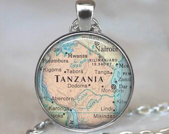Tanzania necklace, Tanzania pendant Tanzania map necklace travel memento Mt Kilimanjaro traveler's gift Africa map key chain key ring