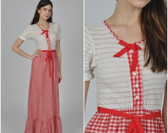 1970s does 1930s Gingham Maxi dress  | vintage 1970s 1930s dress | red white cotton gingham 70s 30s dress