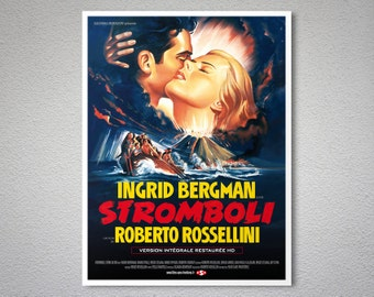Stromboli Vintage Movie Poster, Ingrid Bergman, Roberto Rosselini - Poster Paper, Sticker or Canvas Print / Gift Idea