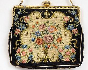 Petit Point Purse / Tapestry / Czechoslovakia / Art Deco / Handbag