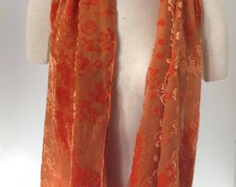 Hand Dyed Silk/Rayon Burnout Velvet Scarf