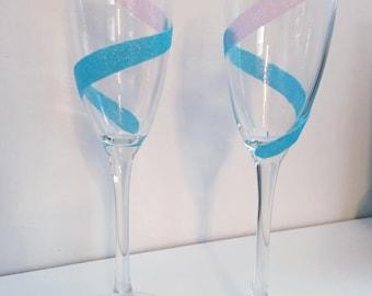 Champagne Flute Glitter Glass