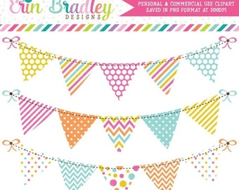 80% OFF SALE Bunting Clipart Graphics Digital Banner Flags Clip Art in Pink Orange Yellow and Blue Instant Download